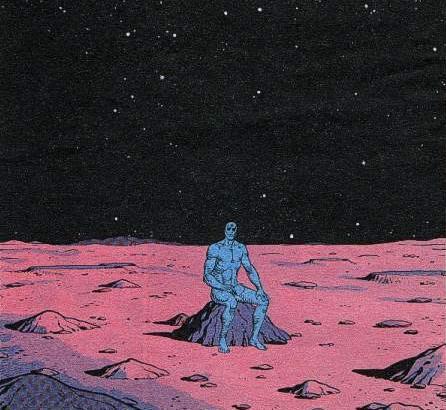Dos viñetas del cómic, ésta y abajo, donde se aprecia los trabajos de dibujo y color de Dave Gibbons y John Higgins